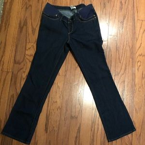Three Seasons Maternity bootcut dark wash jeans.